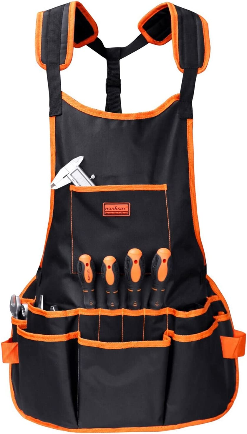 HORUSDY Utility Canvas Work Apron with 16 Pockets, Tool Apron, Cross-Back Straps Adjustable Size, Fits Men & Women, Protective and Waterproof
