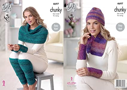 Amazon King Cole Ladies Chunky Knitting Pattern Easy Knit Scarf