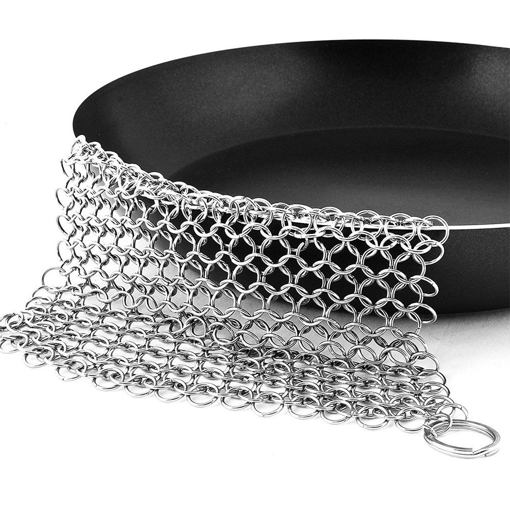 "Cast Iron Cleaner Stainless-Steel Chainmail Scrubber Premium Kitchen Cleaner for Skillet Pan Griddle Wok Durable 8"" quemu"