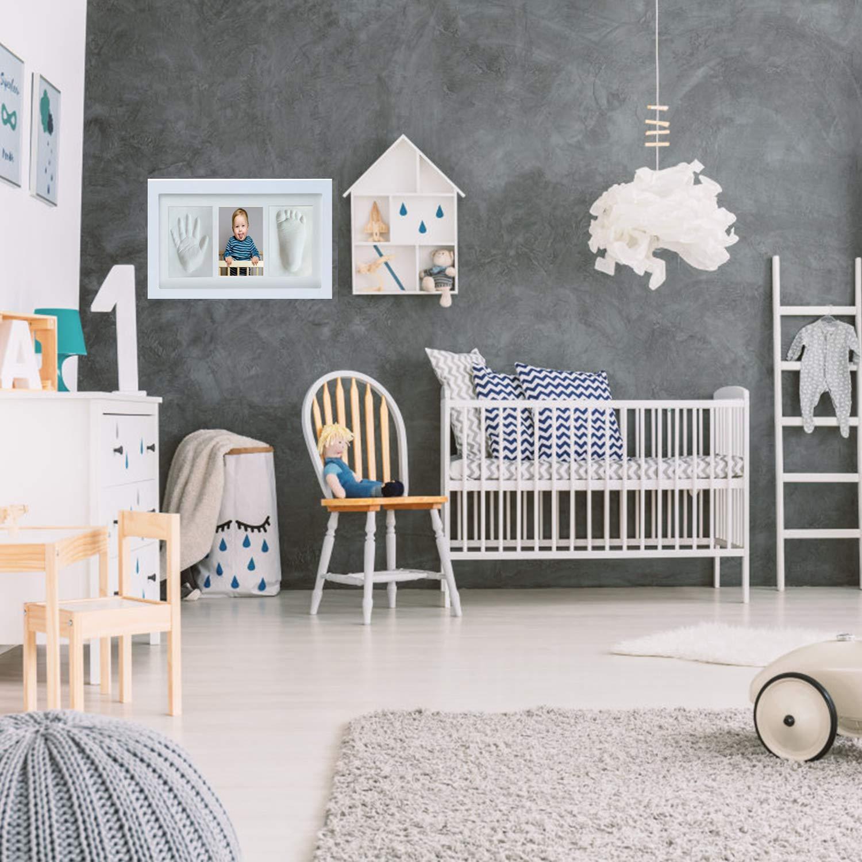 GSSUCCESS beb/é Handprint y Marco de huella Inkpad de fotos Regalos Babyparty seguros y elegantes Elegante blanco de madera s/ólida para reci/én nacidos//beb/é Regalos,Blanco no t/óxico