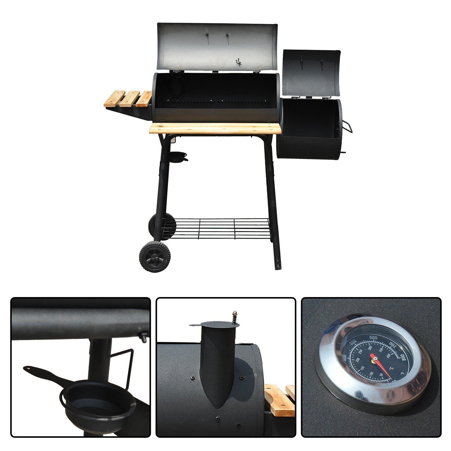 Charcoal BBQ Grill Backyard Cooking Outdoor Smoker with ebook