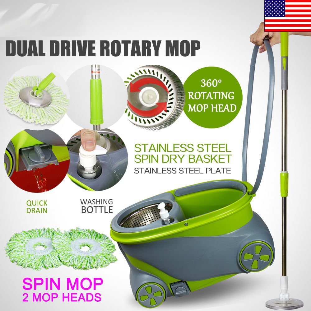 Marketworldcup 360° Spin Rotating Head Easy Magic Floor Mop Bucket with 2 Microfiber Heads by Marketworldcup
