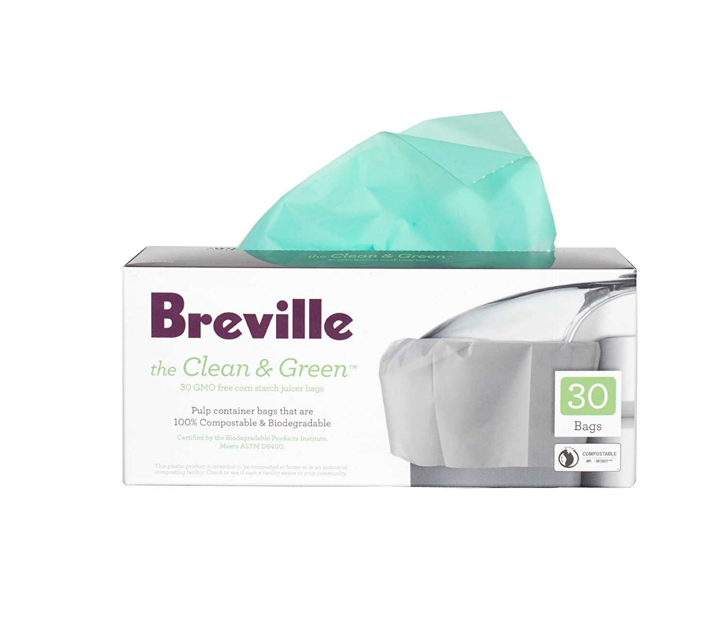 Breville BJE030 Clean and Green Biodegradable Pulp Container Bag for Juicers HWI/Breville USA