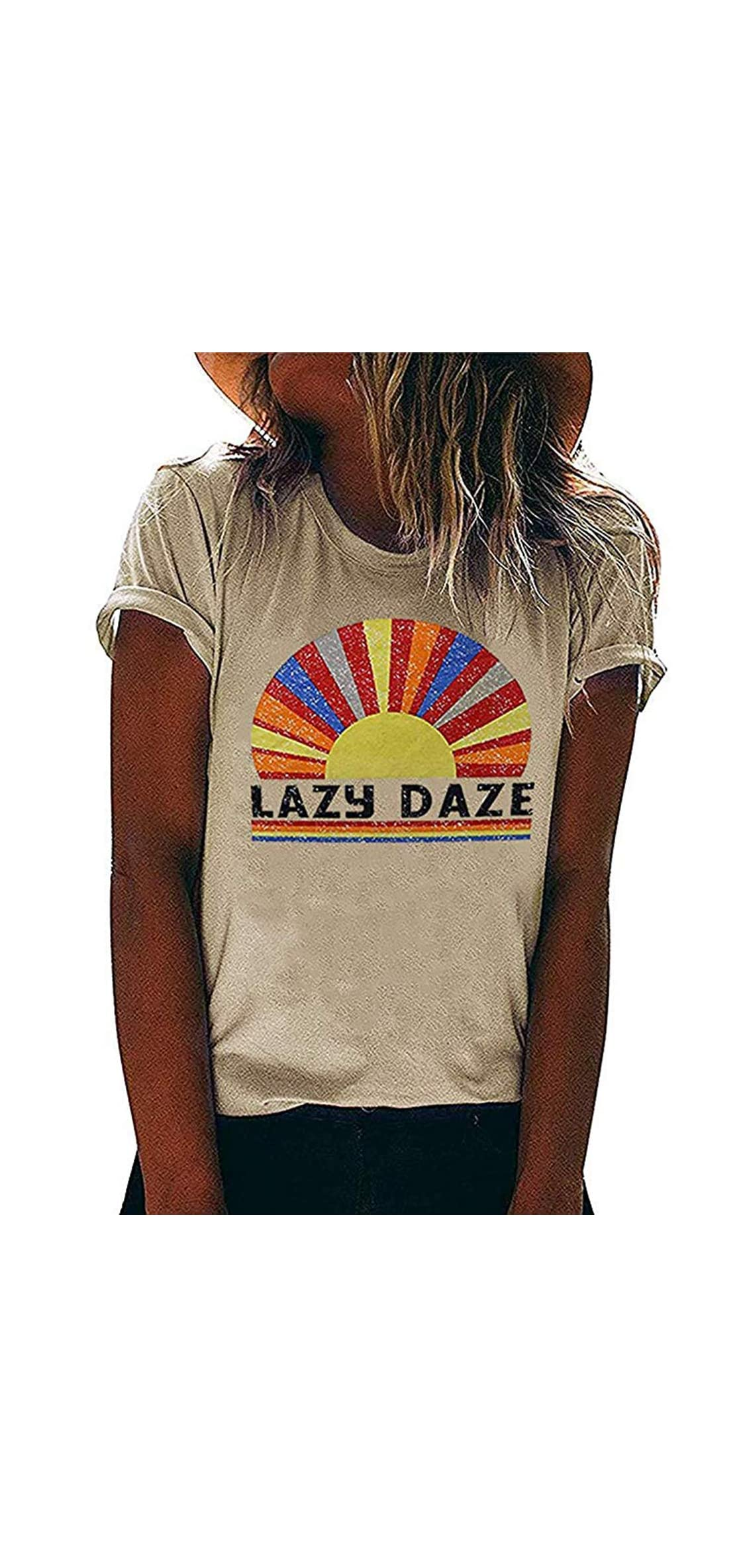 Lazy Daze Shirt Women Rainbow Graphic Tee Short Sleeve Letter
