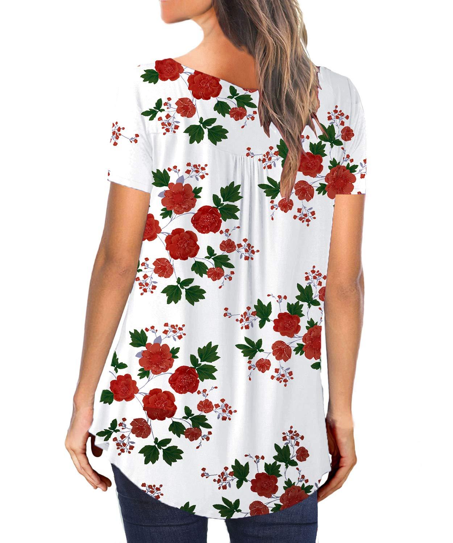 SWAGSTS T-shirt dam sommar V urringning kort ärm blommor tunika lös plissé knappflöjta blus toppar Weißes Blumen