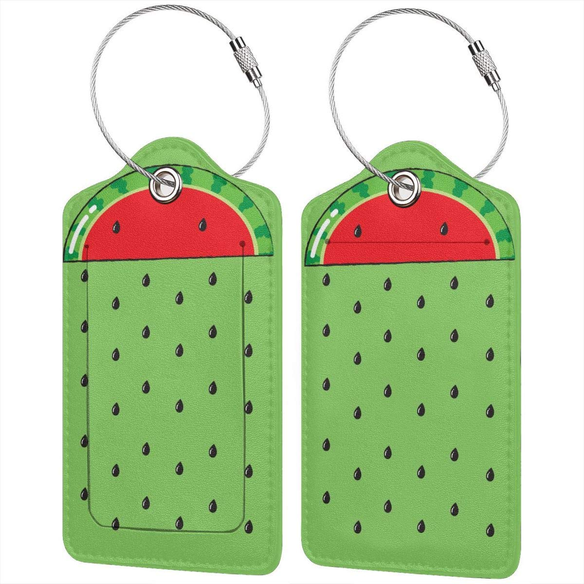 GoldK Watermelon Rain Pattern Leather Luggage Tags Baggage Bag Instrument Tag Travel Labels Accessories with Privacy Cover