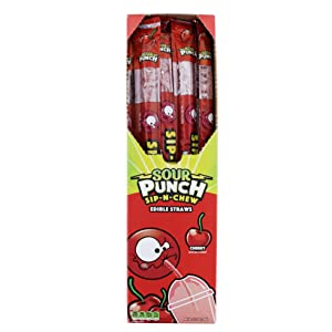American Licorice SOUR PUNCH Sip-N-Chew Straws, Cherry, 9 Ounce - 30 Count Display Pack