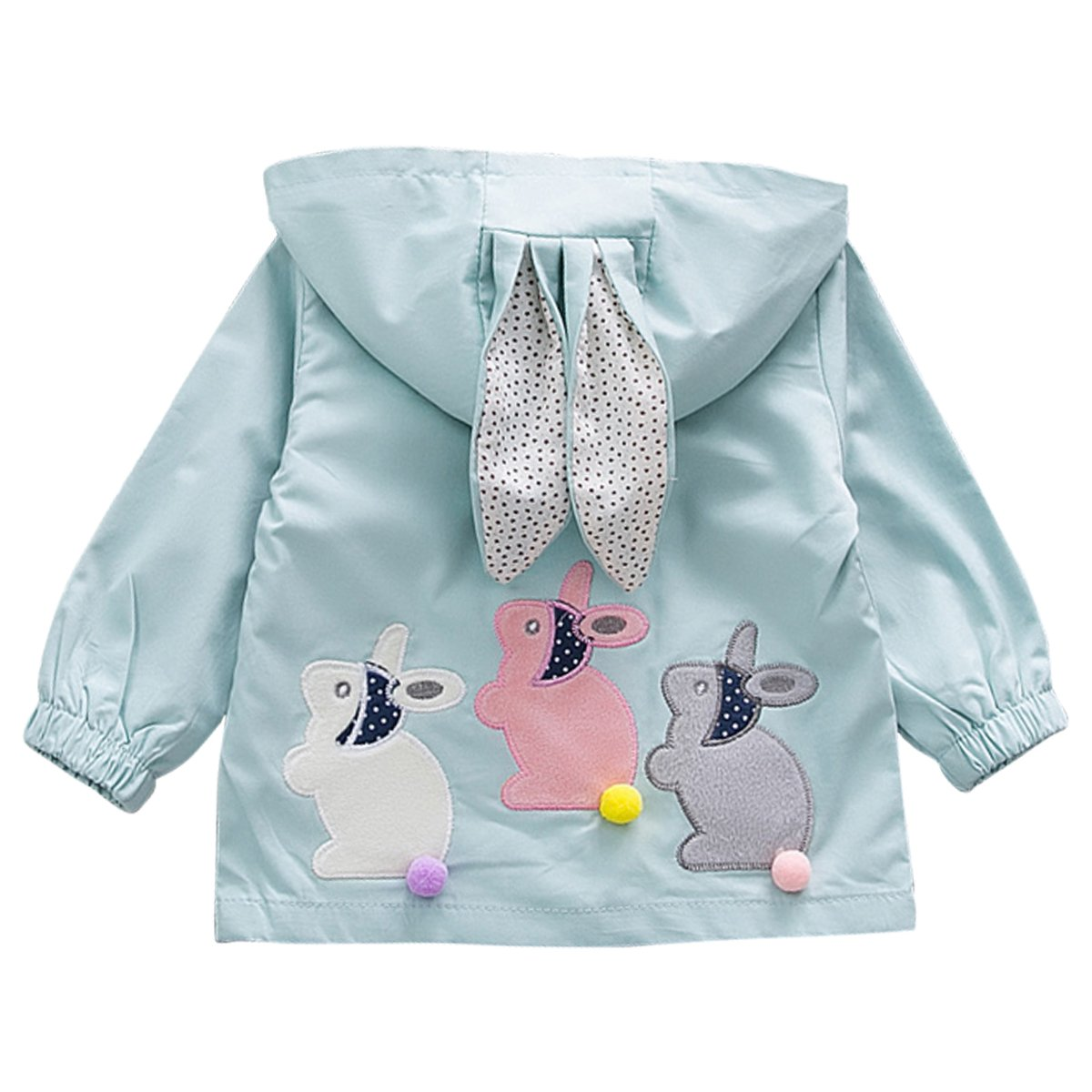 Kanodan Baby Girls Coat Toddler Sanded Fabric Jacket Cute Rabbit Ears Hooded Outerwear