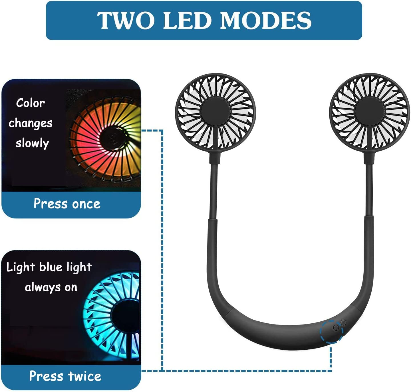 Neck Hanging Aromatherapy Fans /& Wearable Lazy Fan Sharemee Black 3 Speeds Control USB Powered Lower/Noise Fan 2-Color LED Light for Office and Outdoor Travel