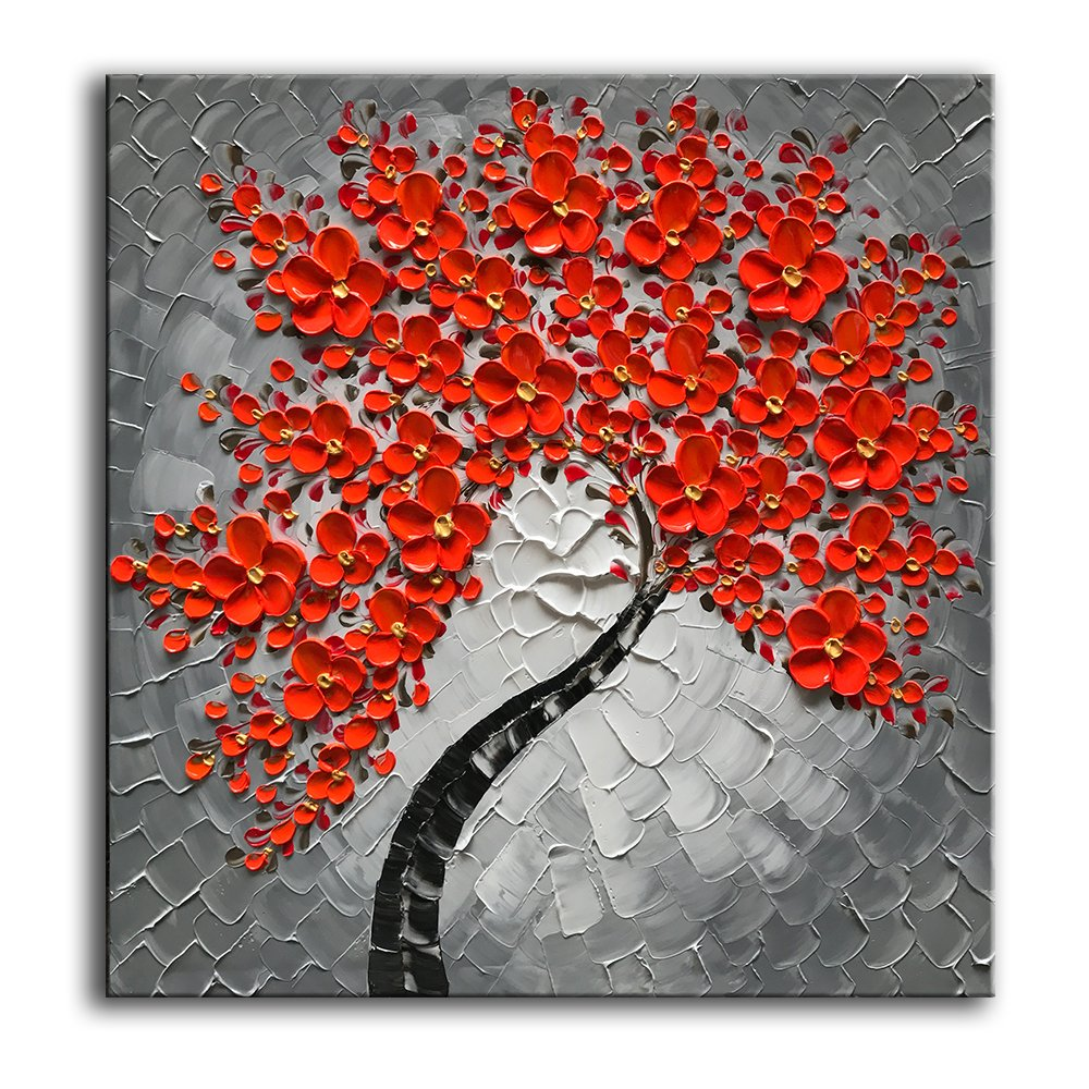 baccow 3030'' 100% Hand Painted Red Flowers Home Decorating Pictures Modern Oil Paintings On Canvas Natural Pictures Abstract Artwork Wall Art For Living Room Bedroom Dinning Room