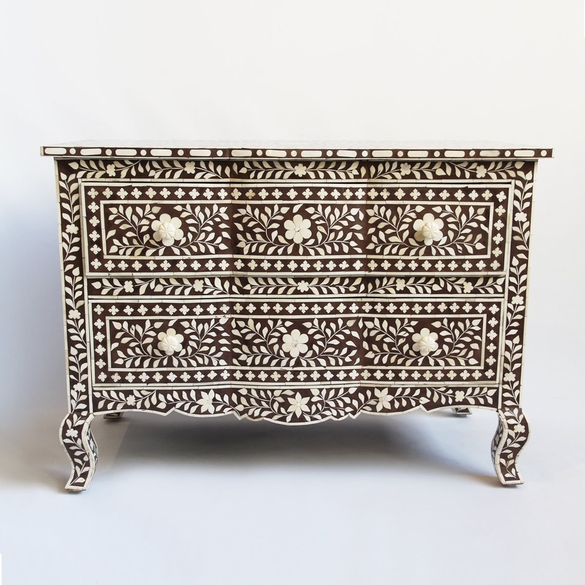 Bone Inlay French Leg Dresser Brown