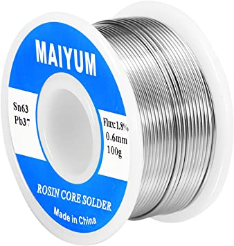 63//37 0.6 Tin Lead Rosin Core Solder Flux Soldering Welding Iron Wire Reel 100g