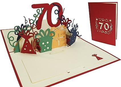 Lin Pop Up de tarjetas de felicitación por 70 cumpleaños, tarjetas de cumpleaños tarjetas de felicitación Tarjetas de felicitación Cumpleaños