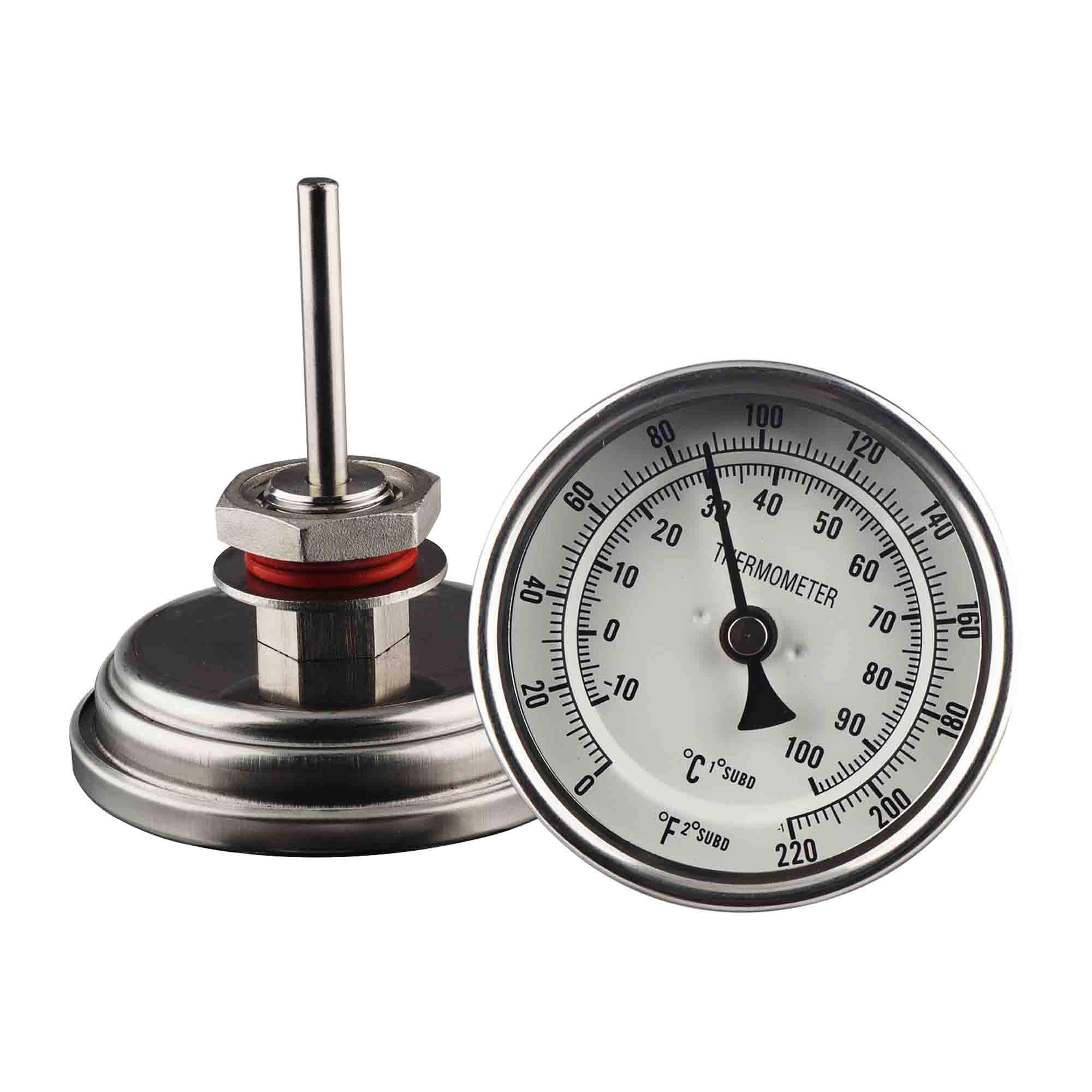 OneBom Brewing Dial Thermometer, 1/2 NPT Stainless Steel, Quick Read with Dual Scale 0-220ºF & -10-100ºC (3'' Face with 2'' Probe for Brew Pot)