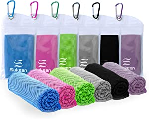 "Sukeen [6 Pack] Cooling Towel (40""x12""),Ice Towel,Soft Breathable Chilly Towel,Microfiber Towel for Yoga,Sport,Running,Gym,Workout,Camping,Fitness,Workout & More Activities"