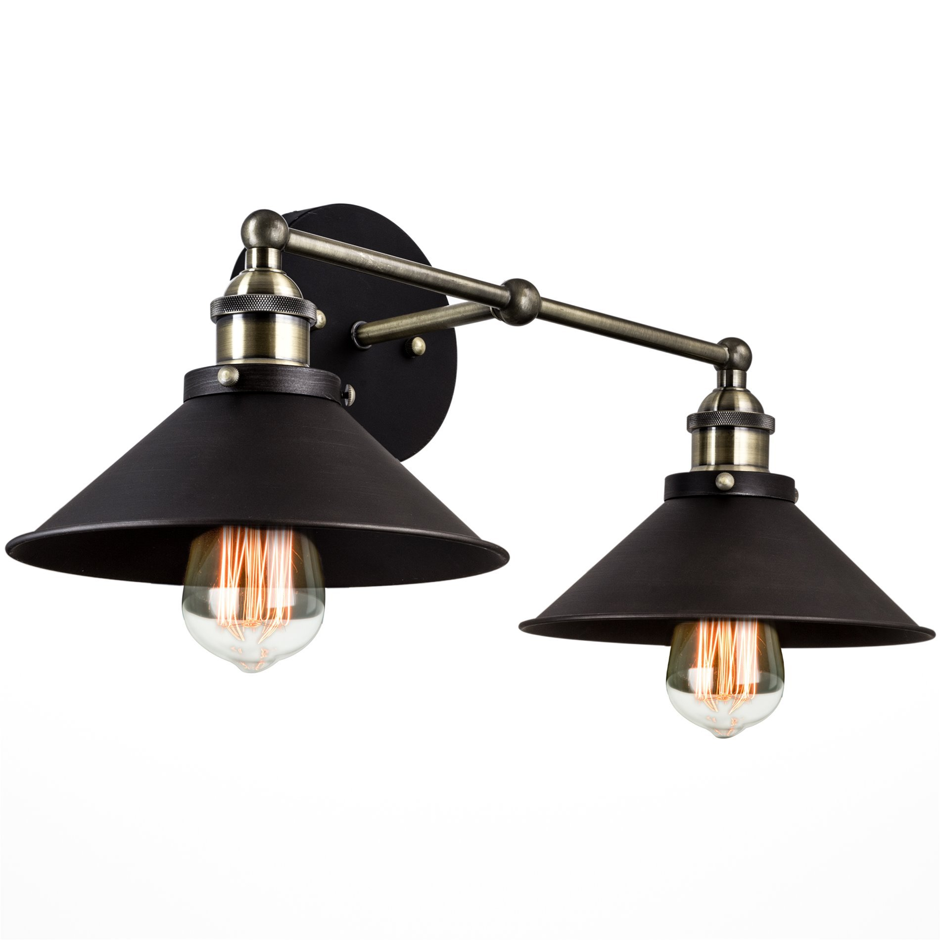 Kira Home Indie 19'' Mid-Century Industrial 2-Light Black Wall Sconce, Brushed Black Finish