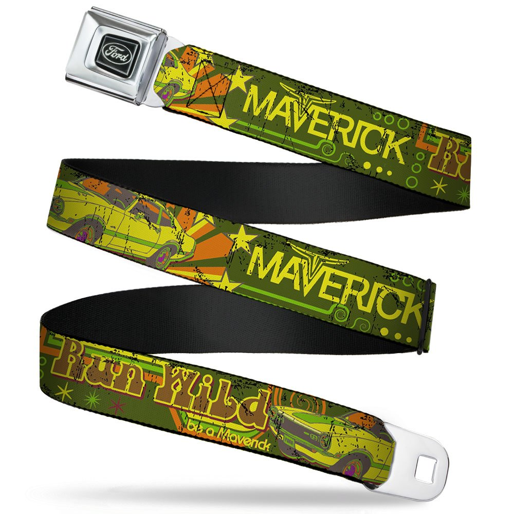 20-36 Inches in Length Buckle-Down Seatbelt Belt 1.0 Wide Vintage Ford MAVERICK-RUN WILD BE A MAVERICK Greens//Yellows