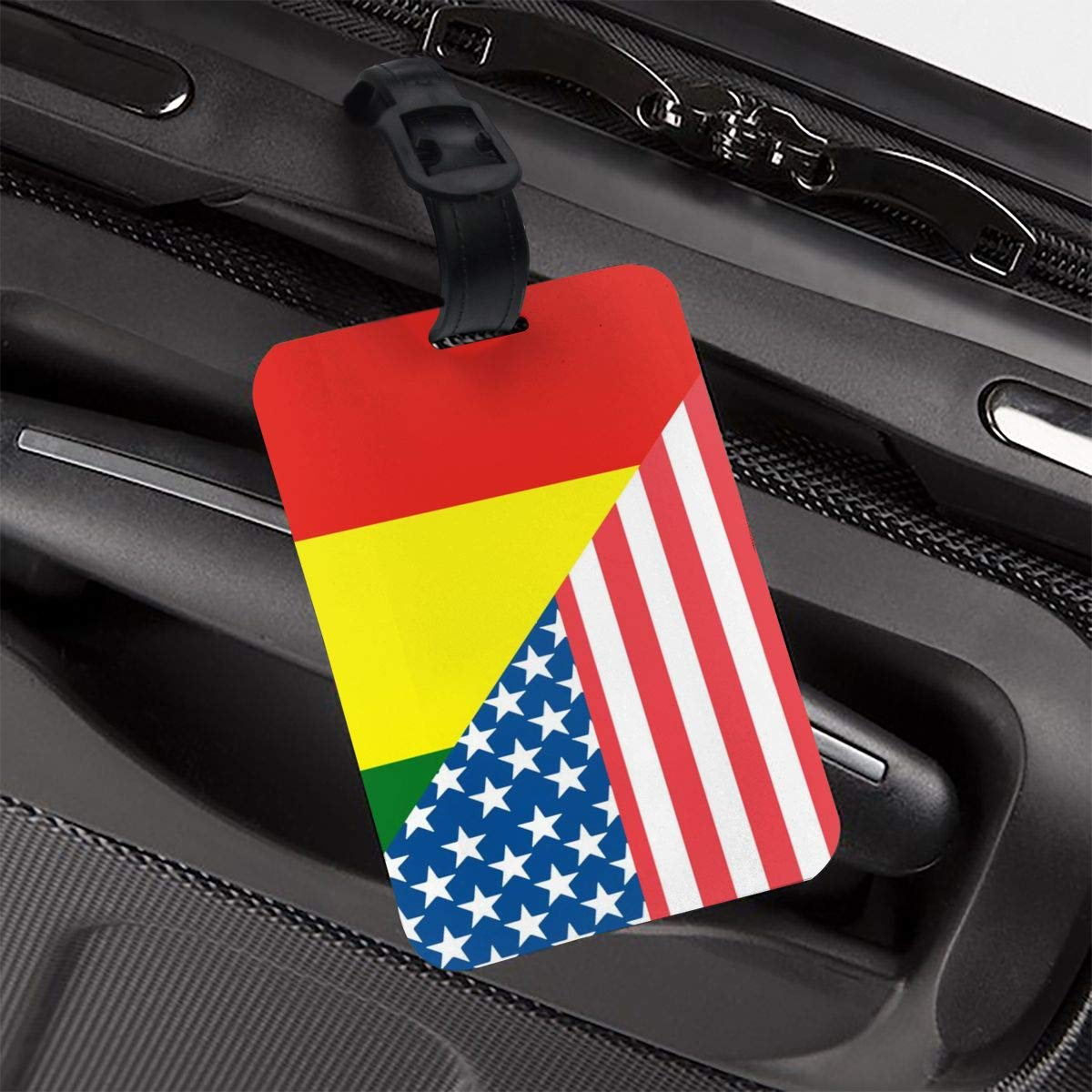 NB UUD American and Bolivian Flag Travel Luggage Tag Portable Employees Card Luggage Tag Holders Travel ID Identification Labels for Baggage Suitcases Bags