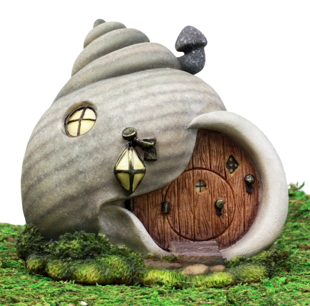 Ebros Gift Enchanted Fairy Garden Miniature Grey Helix Snail House Figurine 6.25''H Do It Yourself Ideas For Your Home