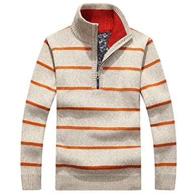 ef94769b2 Pullovers Mens Striped Sweaters Half Zipper Knitwear Men S Sweaters ...