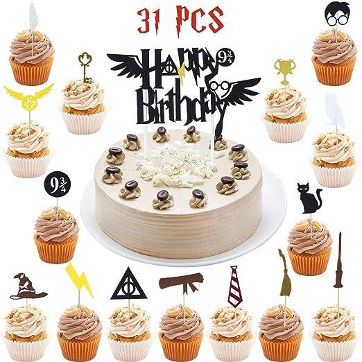 Hooggle Wizard Inspired Cupcake Toppers (Juego de 31) Wizard Fiesta de cumpleaños Decoraciones Suministros Hogwarts decoración de Fiesta c