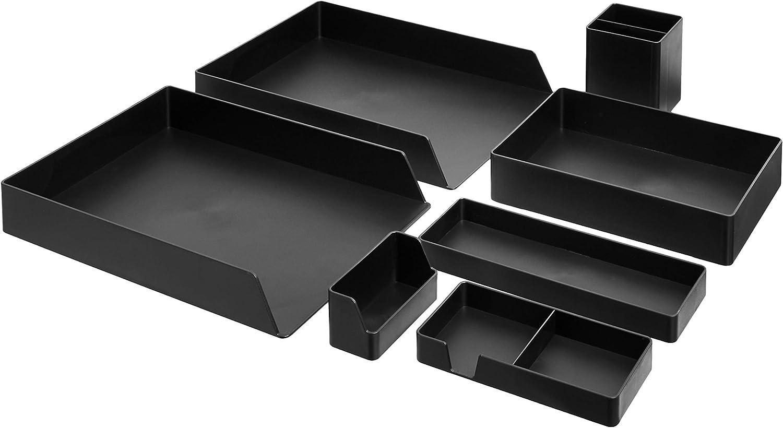 AmazonBasics Plastic Desk Organizer Bundle- Letter Tray 2-Pack/Accessory Tray/Half Accessory Tray/Small Tray/Pen Cup/Name Card Holder, Black