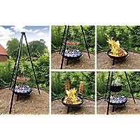 Schwenkgrill Grill-Set XXL schwarz Swing Grill Garten ✔ rund dreieckig ✔ schwenkbar ✔ Grillen mit Holzkohle ✔ mit Dreibeinen