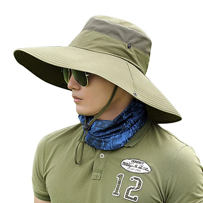 81cd48cfa808d Amazon.com  Men Sun Hat Wide Brim Fishing Cap