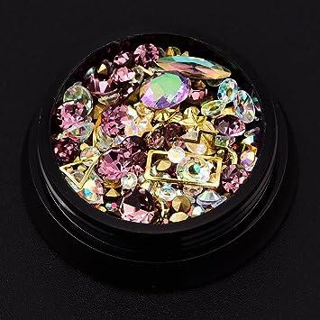 uñas decoracion, Sannysis 1 cajas con con remaches y cristales de resina de color oro, ...