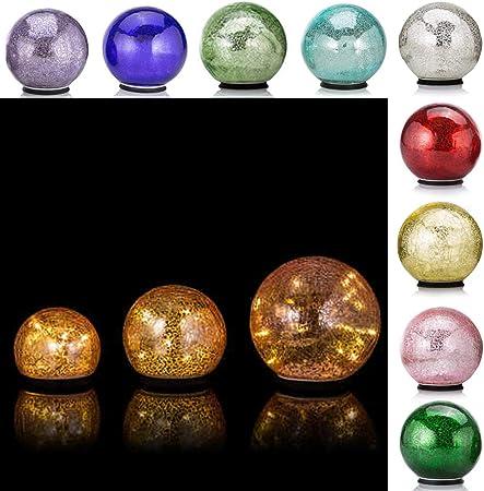 2 beleuchtete LED Outdoor-Kugeln,Ø 25 /& 20 cm,Kugel,Garten Glaskugel,Leuchtkugel