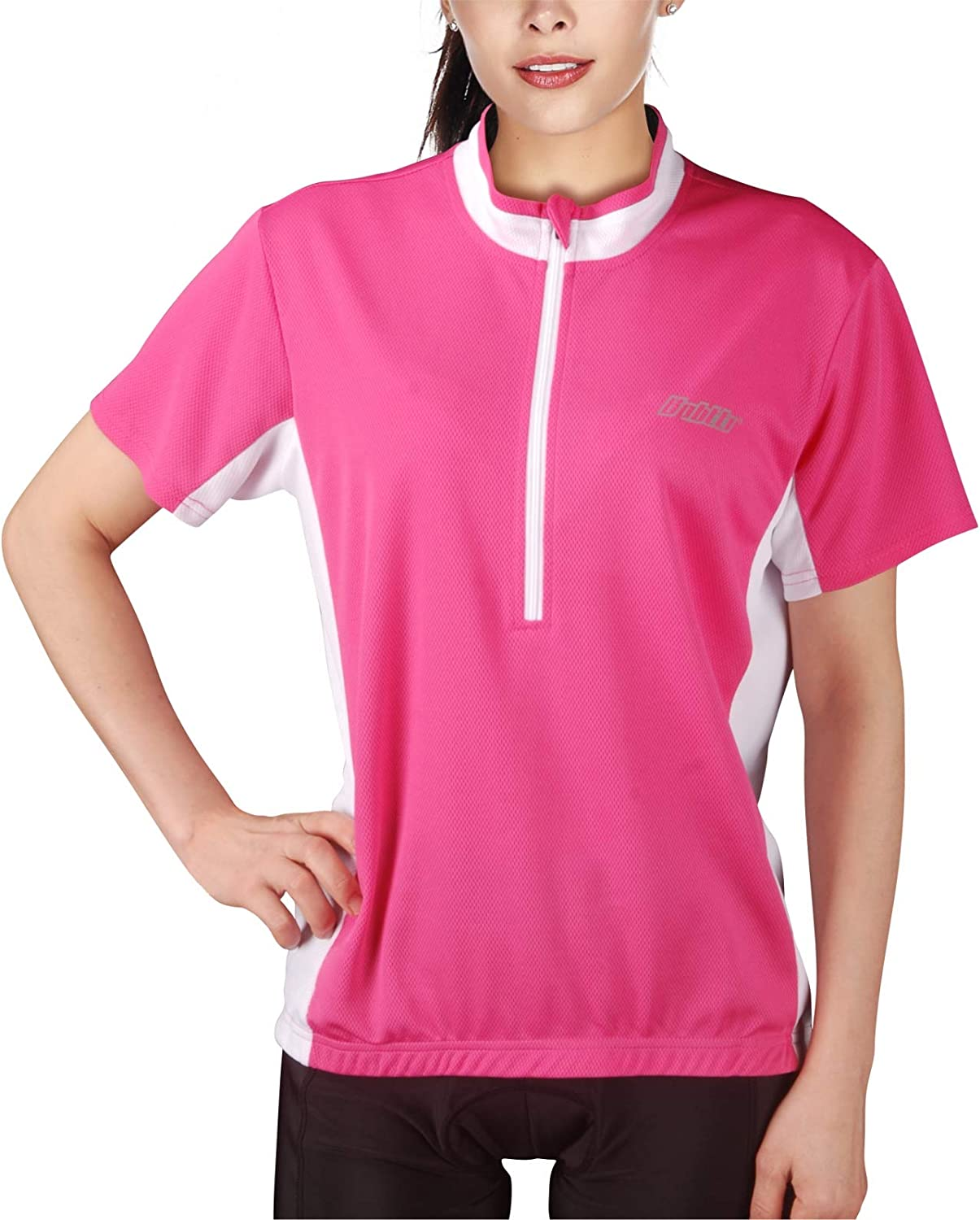 bpbtti Women's Short Sleeve MTB Shirts Cycling Bike Jersey with 3 Rear Pockets - Moisture Wicking&Breathable