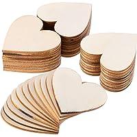 ZesNice Houten Harten Bruiloft, 50 Stuks 50mm Houten Harten Deco Schijven Voor Gastenboek Etikettering DIY Ambachten…