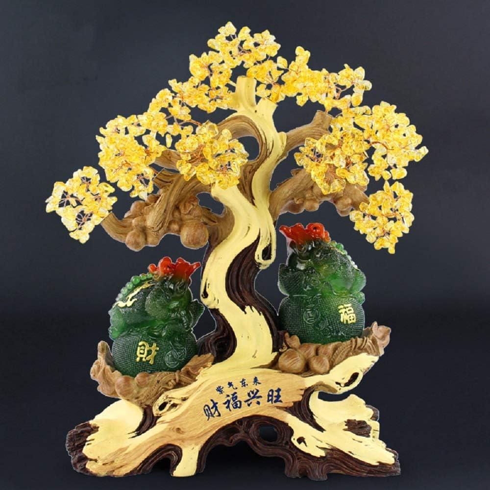 LiangDa Árbol De Gemas Gema cristalina del árbol del Dinero de Feng Shui Suerte Figurita for Ministerio Salón Adornos Feng Shui De Piedras Preciosas (Color : Dark Green, Size : 26x13x33cm)
