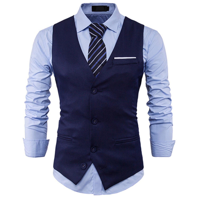 Amazon.com: jwhui para hombre traje chaleco sin mangas macho ...