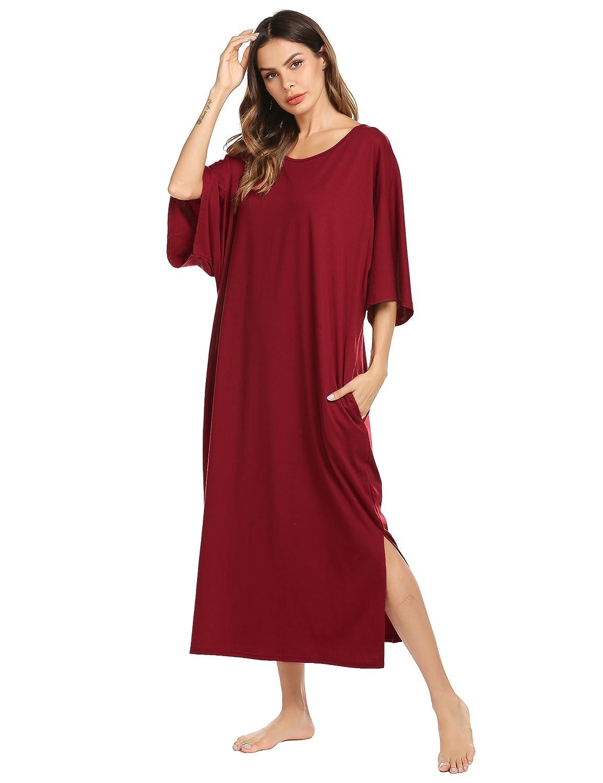 Ekouaer Nightgown, Womens Round Neck/V Neck Loungewear Oversized Pajama Loose Pockets Long Sleep Dress EKV007173