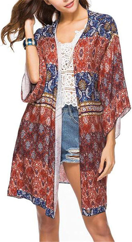 NENGWENWU Women Blouse Spring Beach Cardigan Gradient Printed Sleeve Loose Long Beach Coat
