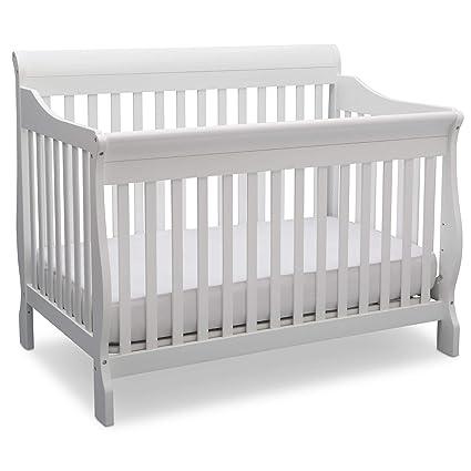 Delta Children Canton 4-in-1 Convertible Crib - Easy to Assemble, Bianca White