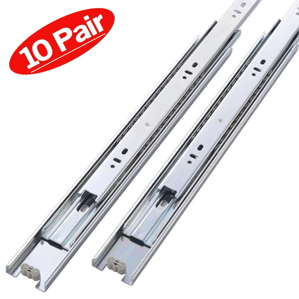 Friho 10 Pair of 18 Inch Hardware Ball Bearing Side Mount Drawer Slides, Full Extension, Available in 10'',12'',14'',16'',18'',20'' Lengths
