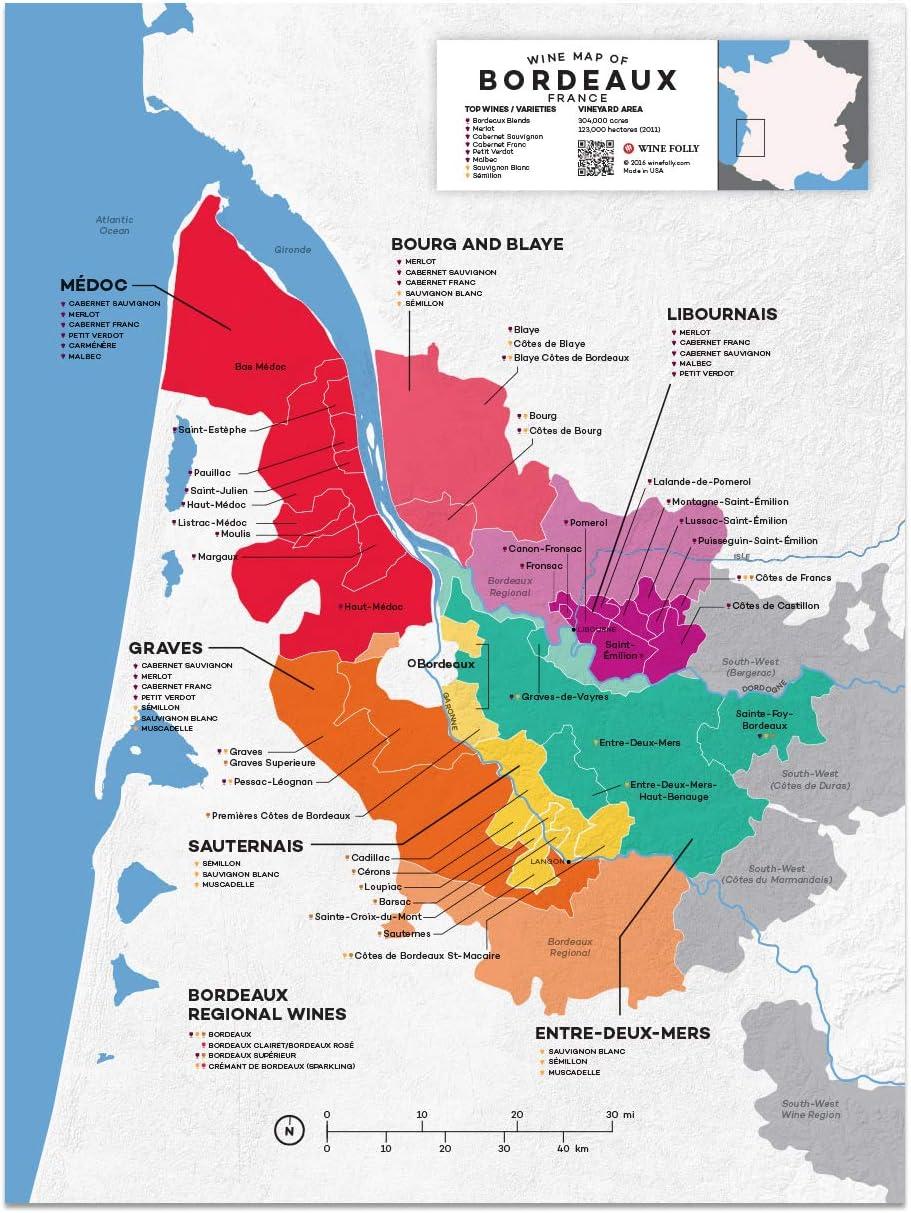 Amazon Com Wine Folly France Bordeaux Wine Map Poster Print 12