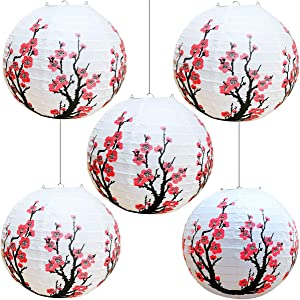"Smeiker Chinese Japanese Red Cherry Flowers (5 Pack 12"" Diameter) White Round Chinese Japanese Paper Lamp for Shade Chinese Oriental Style Light Restaurant Wedding Party Home Decor Gifts"