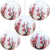 """Smeiker Chinese Japanese Red Cherry Flowers (5 Pack 12"""" Diameter) White Round Chinese Japanese Paper Lamp for Shade…"""
