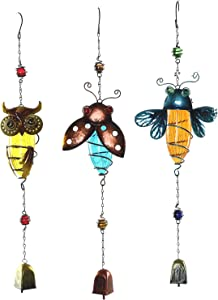 """CEDAR HOME Solar Wind Chime Unique Outdoor Indoor Hanging Mobile Bell Windchime Light for Garden Lawn Yard Patio Waterproof Metal Glass Winged Insert Home Decor, 8"""" W x 3"""" D x 24.5"""" H, 3 Set"""