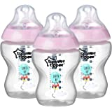 Tommee Tippee Closer to Nature Decorated Baby Bottle, Pink, 9 Ounce, 3 Count