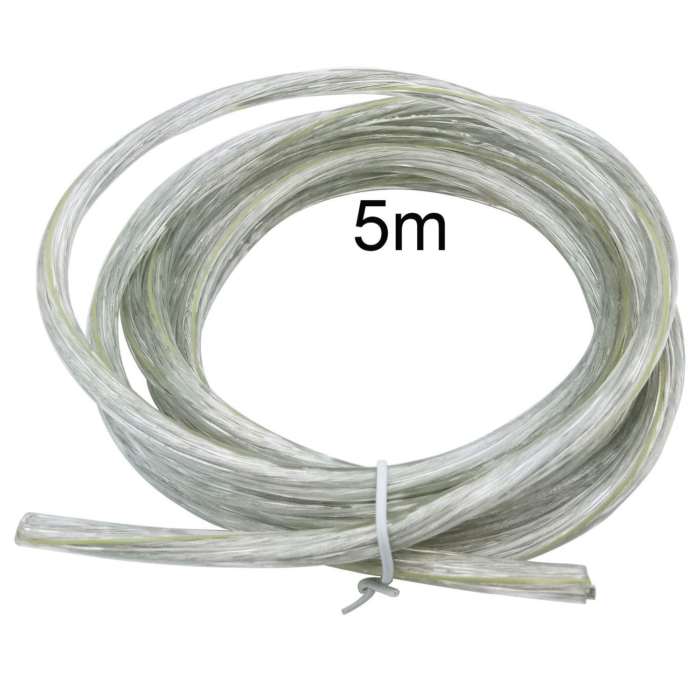 Elektrischer Draht / 3-adriges rundes weißes PVC-Netzkabel Kupferdraht hohe Temperaturbeständigkeit 3 x 0,75 mm2 Stromkabel Twin und Erdungskabel – 5 m Schnittlänge flexibles Teichkabel, Transparent LumenTY