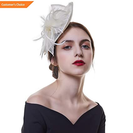 7678 Sandover Womens Net Fascinators Feather Veil Hairpin Ascot Hats Wedding Party Hair Clips Model HRPN