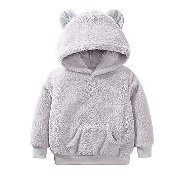 ZHRUI Trajes de bebé para niños pequeños, Casual Solid Pullover Abrigos con Capucha Manga Larga al ...