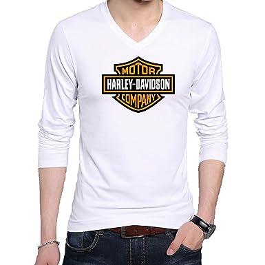 e31a7c61b2 Wild Thunder V Neck Full Hand HD Bike Logo Printed T Shirt - Men's HD Bike  Logo Printed V Neck Full Sleeve Graphic T Shirt - White: Amazon.in: Clothing  & ...