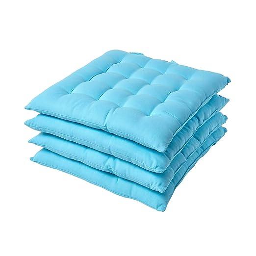 Juego de 4 cojines para silla, azul, 40 x 40 cm: Amazon.es ...