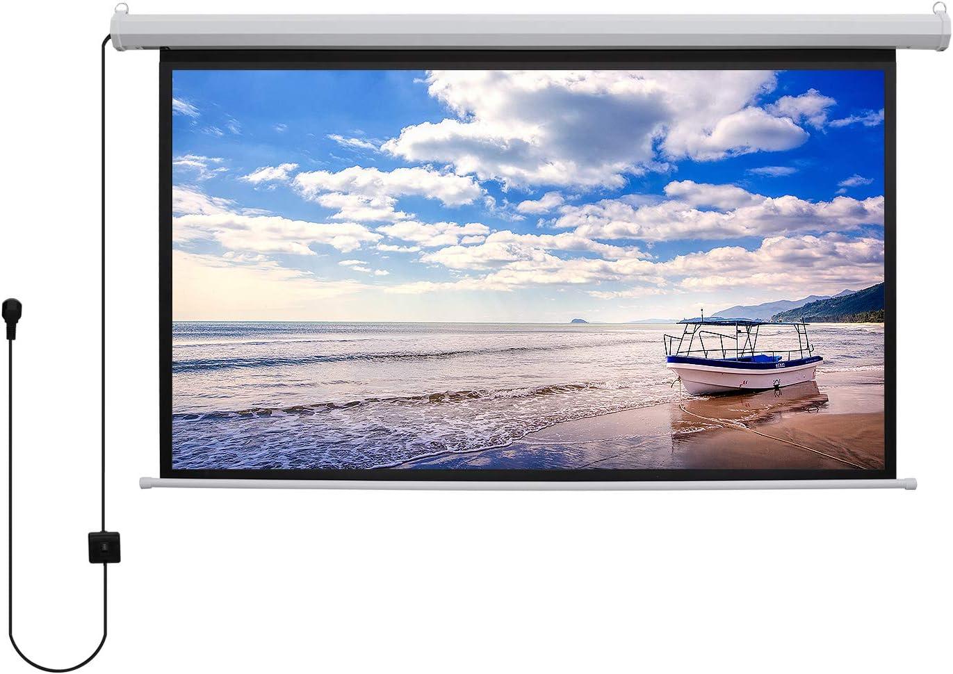 KPCB プロジェクタースクリーン 120インチ 電動 吊下げ式 シワのないスクリーン 自動収納でき スペース節約(16:9)