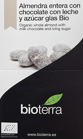 Bioterra, almendra con chocolate con leche y azúcar glas bio gourmet, 4 estuches de